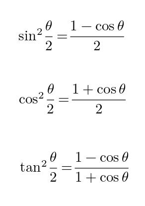 三角関数 半角 公式