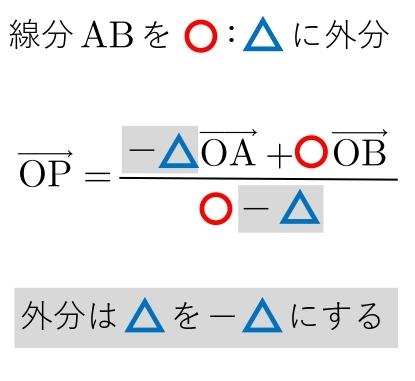 平面ベクトル 公式 外分