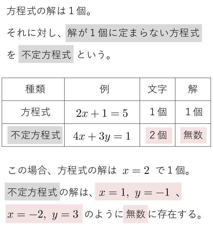 不定方程式の説明 不定方程式とは