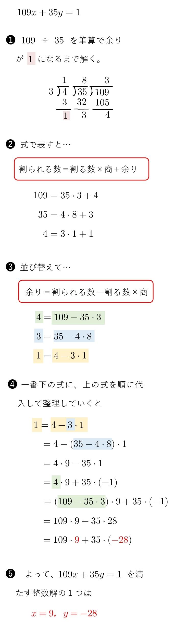不定方程式 整数解 出し方 ユークリッドの互除法 やり方