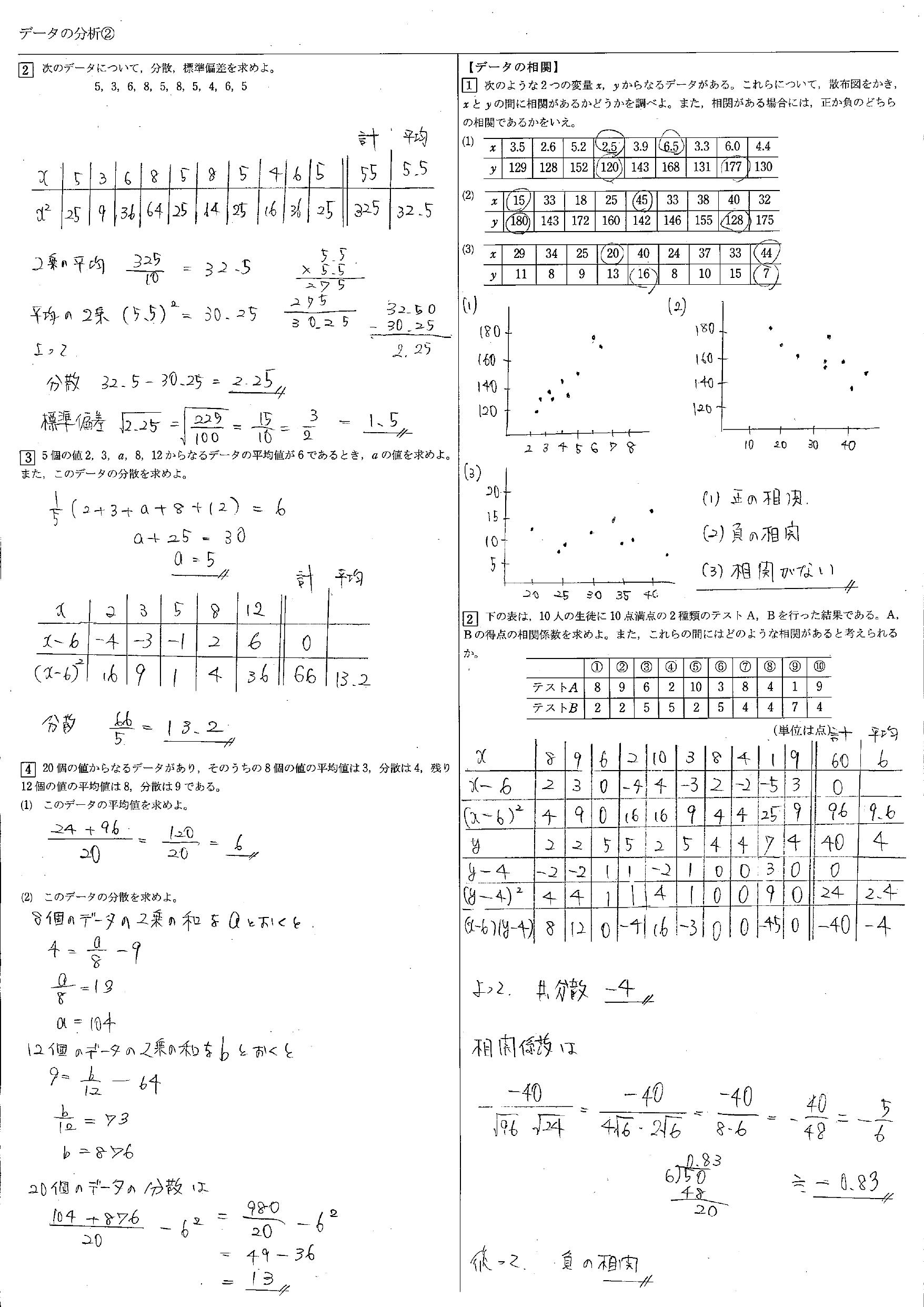 データの分析 教科書 まとめ 一覧 問題 解答