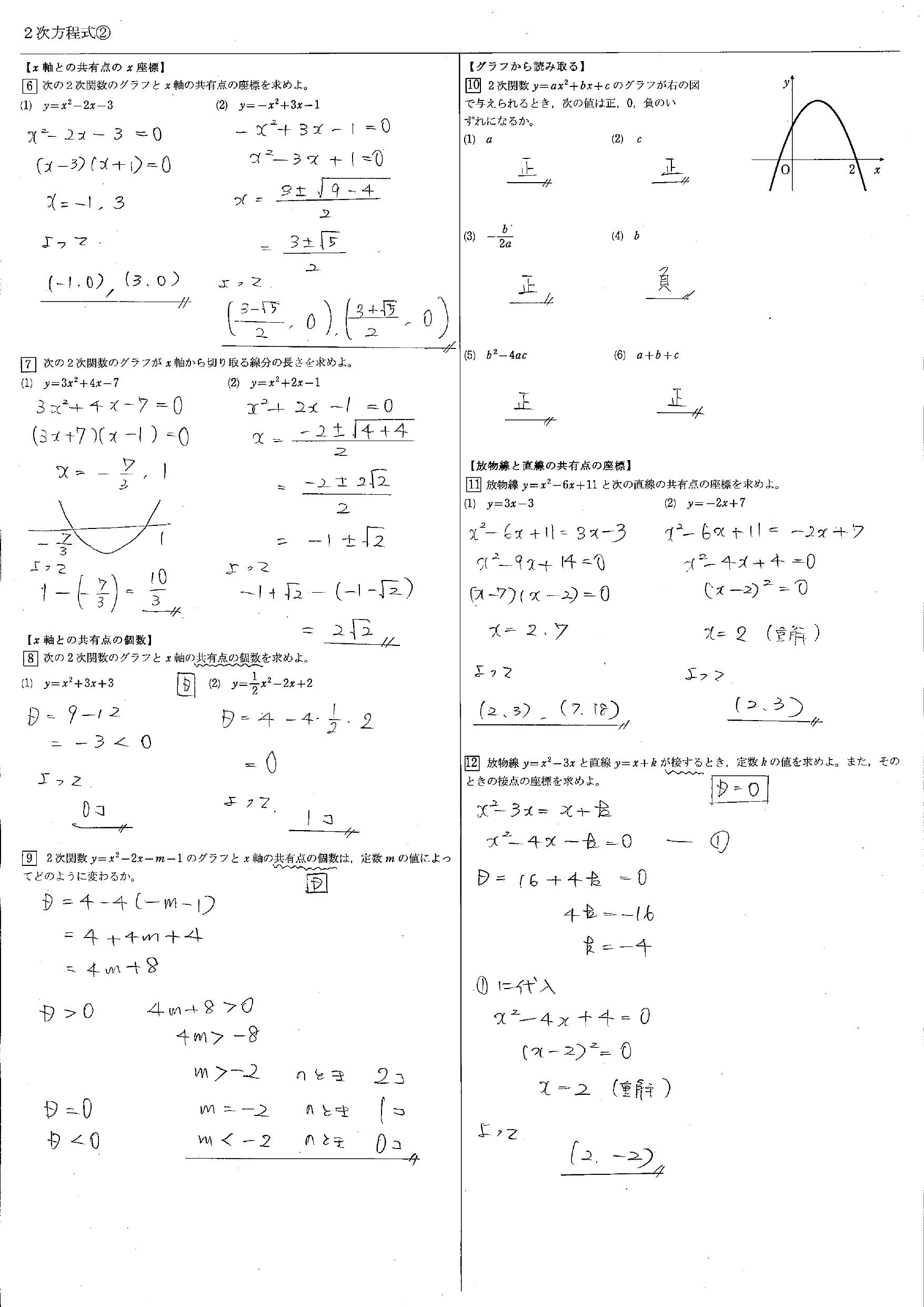 2次方程式 教科書 まとめ 一覧 問題 解答