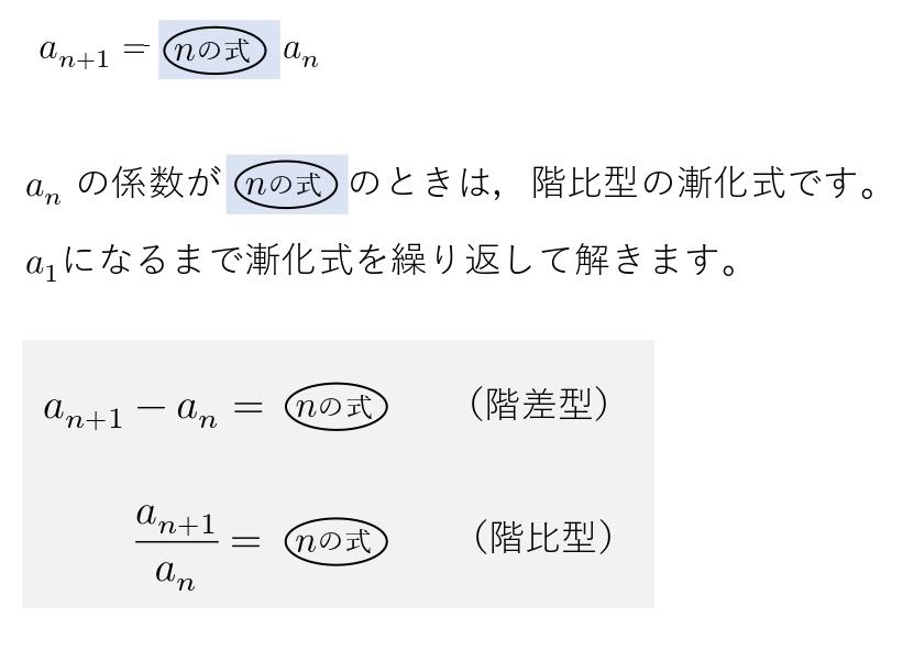 漸化式 解き方 階比型